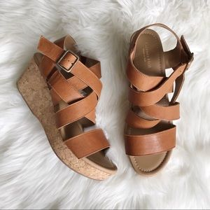 GARNET HILL 9 Iva Lattice Cork Wedge Sandals 40
